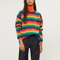 Высокое качество 100% шерсть в радужную полоску свитера 2018 осень зима взлетно посадочной полосы модные женские свободные черепаха шеи свитер