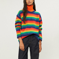 High quality 100% wool rainbow stripe sweaters 2018 Autumn winter runway fashion women's loose Turtle Neck sweaters Tops D335