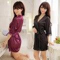 Novas Mulheres Pijamas Lingerie Sexy Hot Transparente Sleepshirt Roupões Camisola Fêmea Home Wear 5 cores