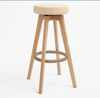 Wooden Swivel Bar Stools Modern Natural Finish Round Leather Foam Seat Backless Indoor Mini Home Bar