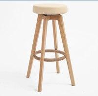 Ahşap Döner Bar Tabureleri Modern Doğal Finish Yuvarlak Deri Köpük Koltuk Backless Kapalı Mini Ev Bar Mobilyaları Sandalye 29-Inch