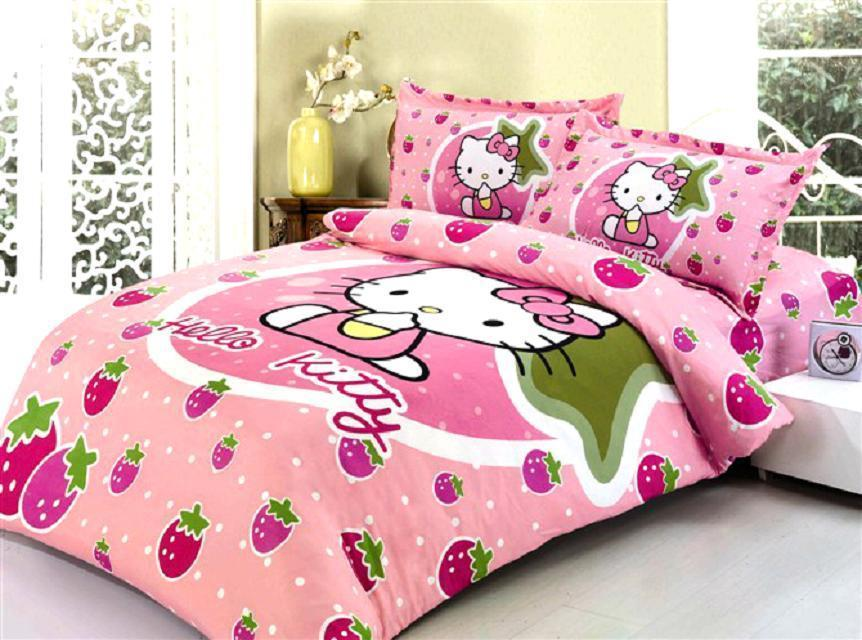 Pink Color Hello Kitty Printed Bedding Set Bed Linens Kids Girlu0027s  Bedclothes Twin Size Quilt Duvet