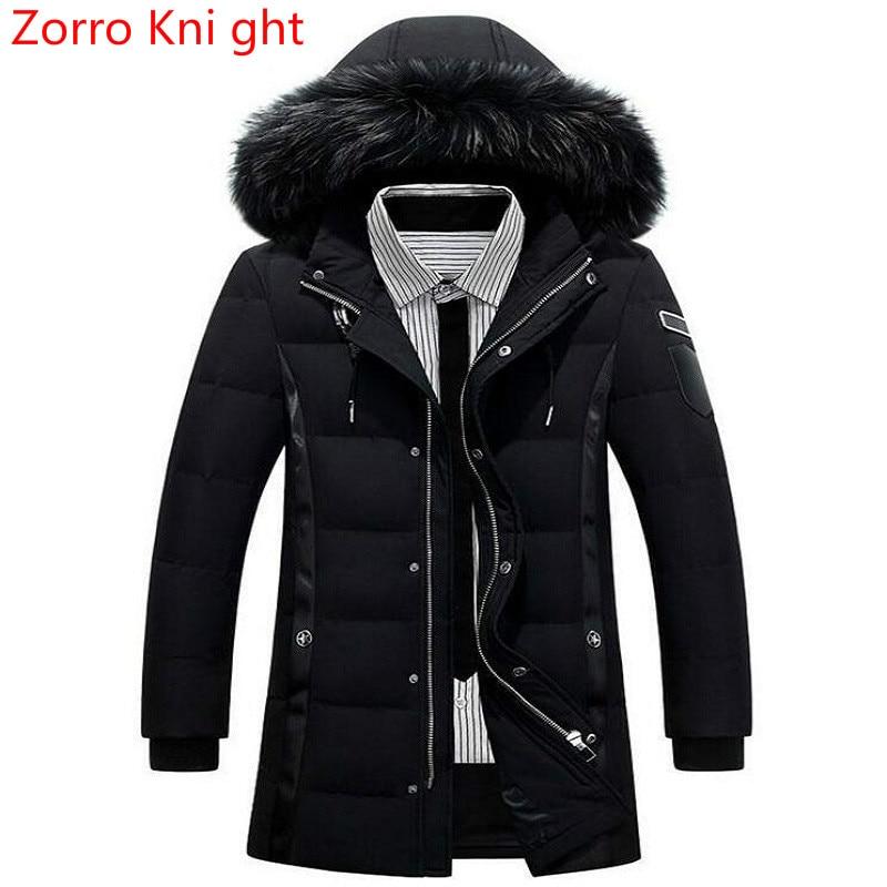 Zorro Kni ght veste d'hiver hommes Design de mode marque Parka hommes vêtements fermeture éclair manteau mâle épais chaud col de fourrure à capuche Parka