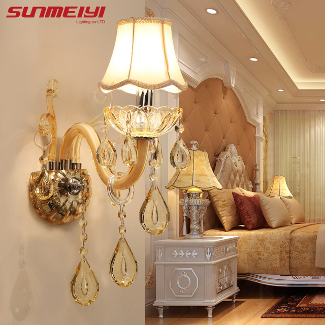European Design LED Luxury Hanging K9 Crystal Wall Lamps Bedroom Headboard  Bedside Lamp Wall Sconce Light