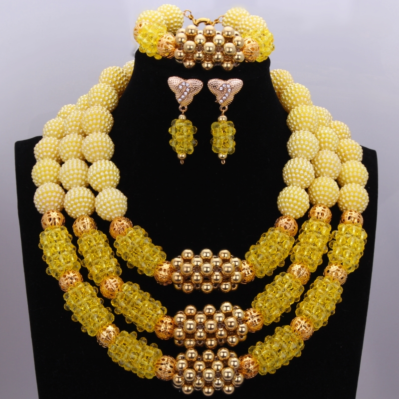 Simple New Golden Yellow Bridesmaid Jewelry Sets Ladies Beads Layered Necklace African Wedding Jewelry Set Free Shipping Simple New Golden Yellow Bridesmaid Jewelry Sets Ladies Beads Layered Necklace African Wedding Jewelry Set Free Shipping