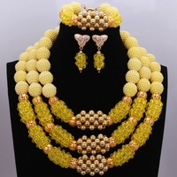 Simple New Golden Yellow Bridesmaid Jewelry Sets Ladies Beads Layered Necklace African Wedding Jewelry Set Free Shipping