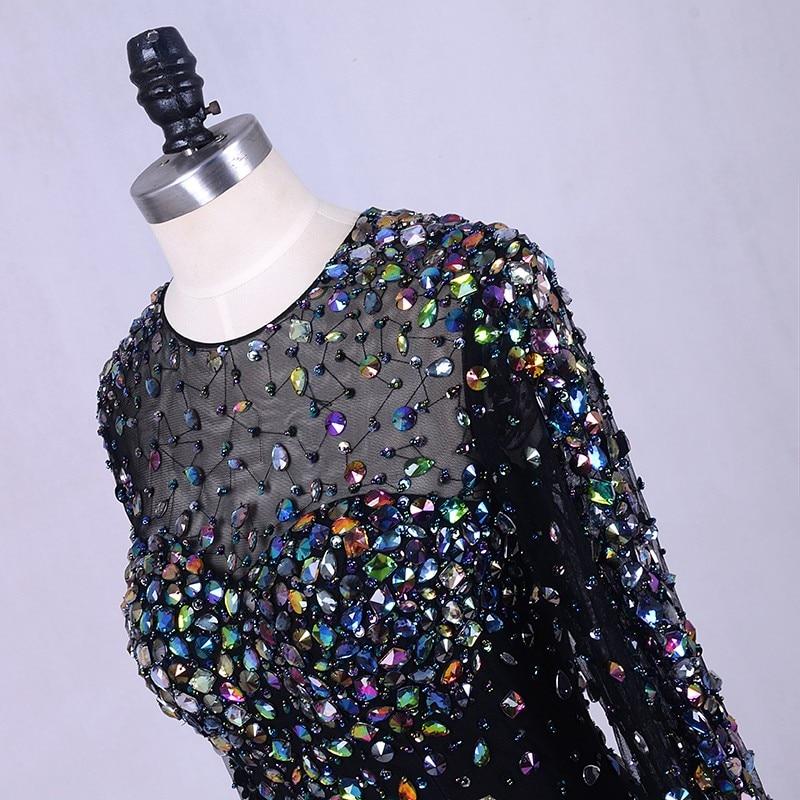 Crna večernja haljina s kristalima 2019 Abendkleider perje Bling - Haljina za posebne prigode - Foto 4
