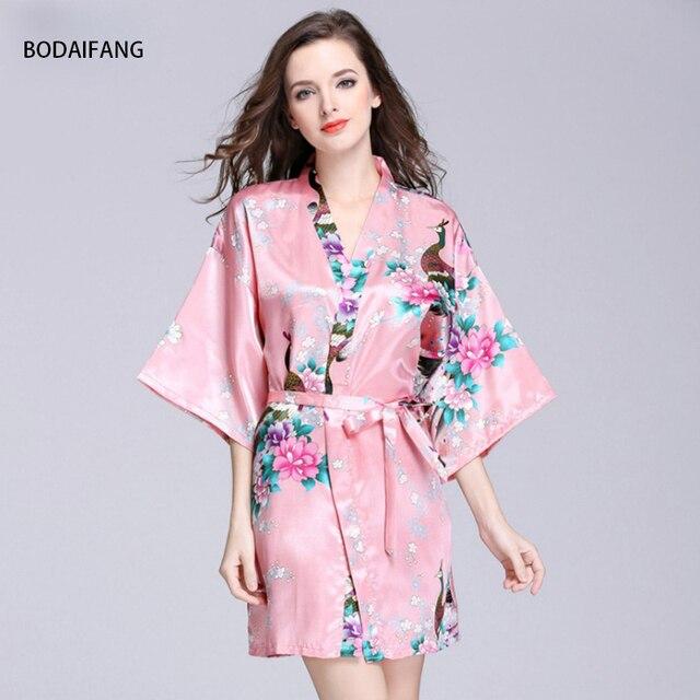 BODAIFANG Популярные Павлин халат шелковый халат из шелка сексуальные пижамы Для женщин пижамы Половина рукава печать дамы Лето шелковый халат.