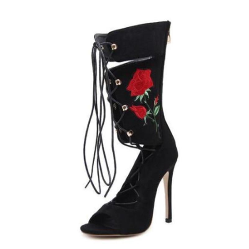 Las Hueco Picture Peep Tacones Sexy Zapatos Botas Los Altos atado Bordado Aguja As Primavera De Mujeres Romanas Sandalias Otoño xfUYvY