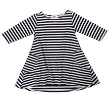 2016 Baby Girl Autumn Dress Loose Long Sleeve Casual Stripe Black and White With Pockets For Kids