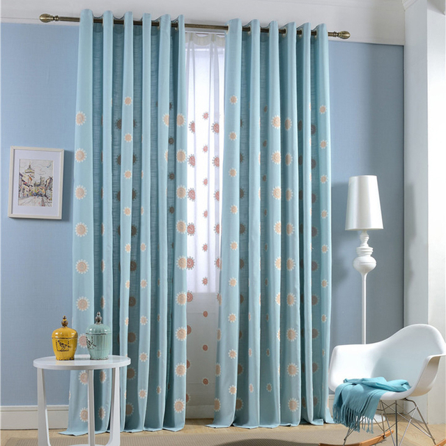 Txtil lar flor bordada azul claro sol luxo 3D janela