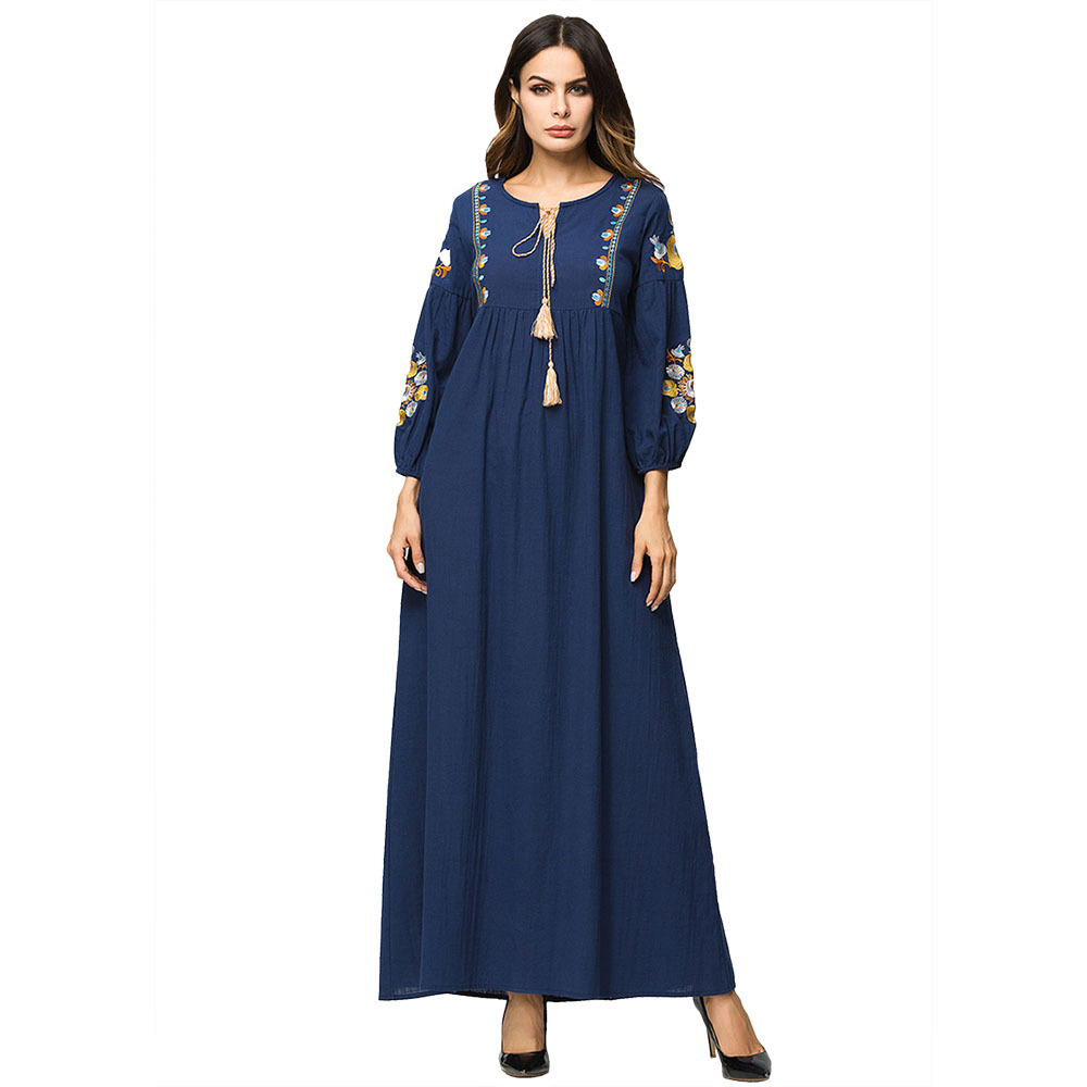 Embroidery Pakistani Dress Musilm Elegant Long Dress Autumn Winter Casual Abaya Women Long Sleeves Tassel Maxi Loose Dress