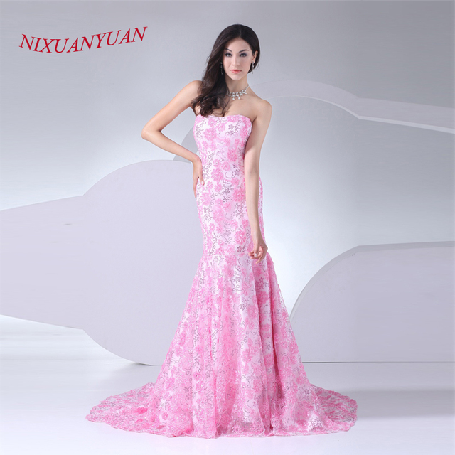 NIXUANYUAN2017 New Design Pink Sequined Lace Wedding Gown Real Photo Strapless Mermaid Dress 2017 Cheap