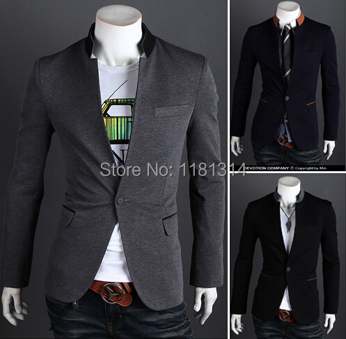 free shipping One Button Stand-up Collar Fashion Slim Fit Mens Suit Blazer Coats Jackets size m-2xl