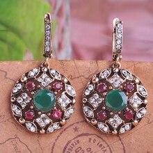 Blucome, ювелирные серьги-капли зеленого цвета в турецком стиле для женщин, винтажные круглые серьги принцессы с крючками, длинные серьги Max Brincos