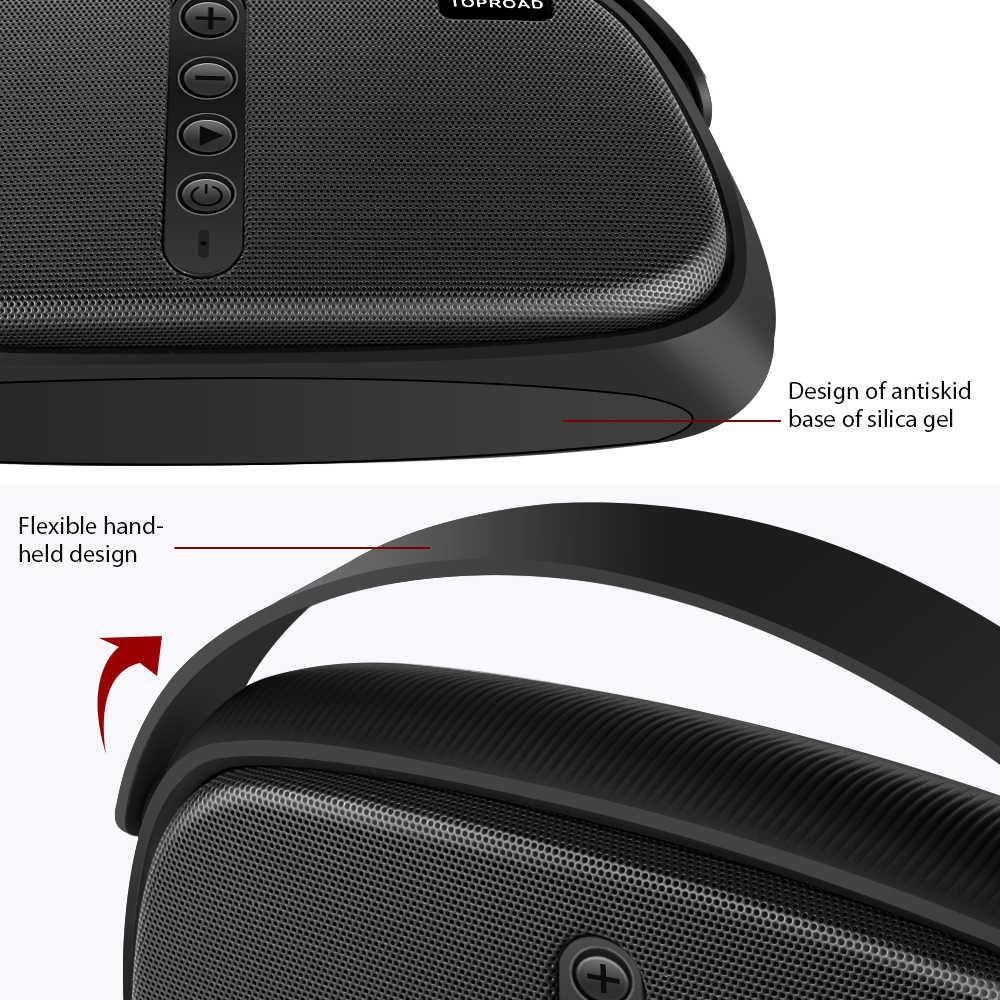 Toproad Portabel Bluetooth Speaker 12W Wireless Stereo Bass Kotak Suara Speaker Subwoofer Kolom Mendukung TF AUX FM Radio USB MIC