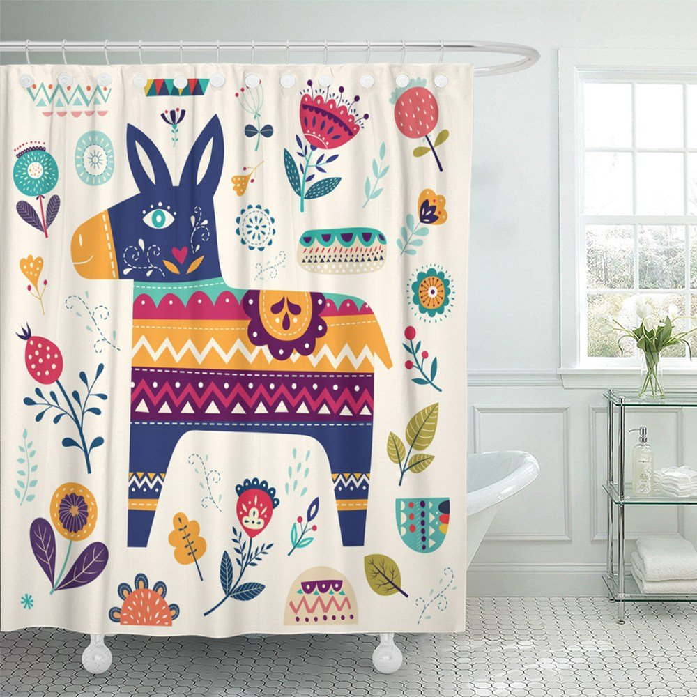 Shower Curtain Waterproof Colorful Cute Mexican Pattern Donkey and Flowers Floral Animal Bird Baby Set Hooks