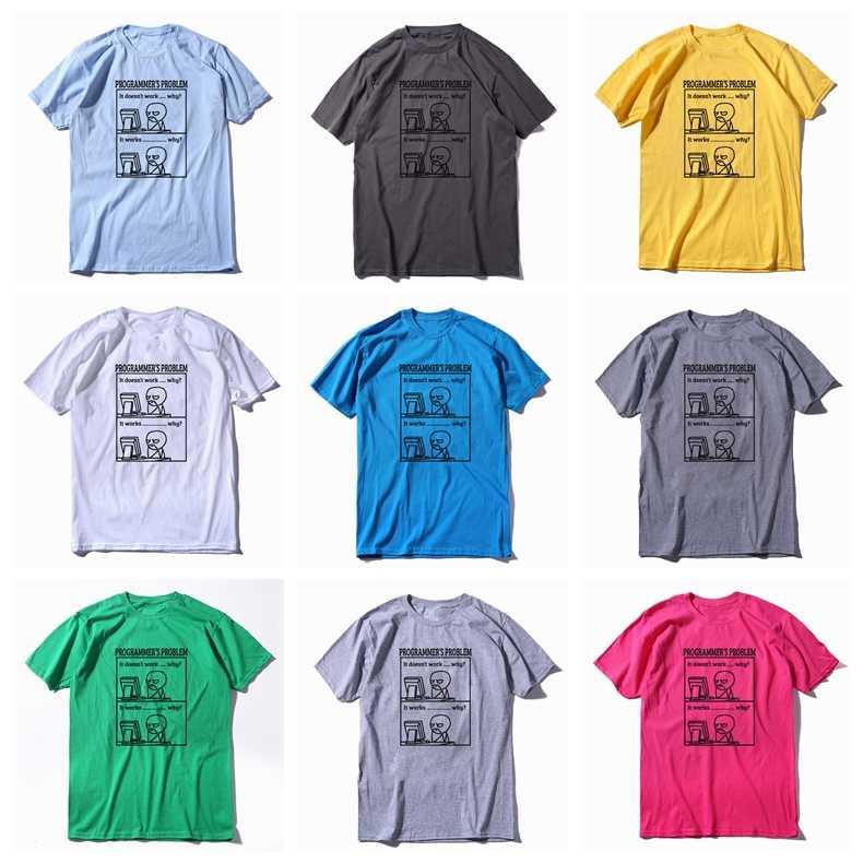 COOLMIND % 100% pamuk komik baskı programcı sorunu erkekler T gömlek casual yaz erkek gömlek gevşek o-boyun T-shirt erkek tee gömlek