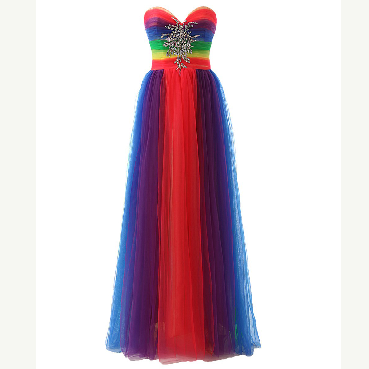 Colorful Rainbow   Evening     Dresses   Long A Line Tull Beading Prom Gown Sweetheart Formal   Dress