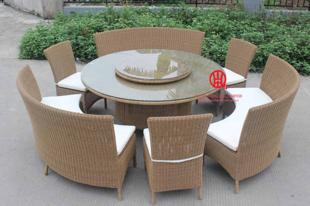 Outdoor Poly Rattan Wicker Furniture Dining Table With Bench Set,Indoor Wicker Modern Cheap Corner Rattan Garden Furniture