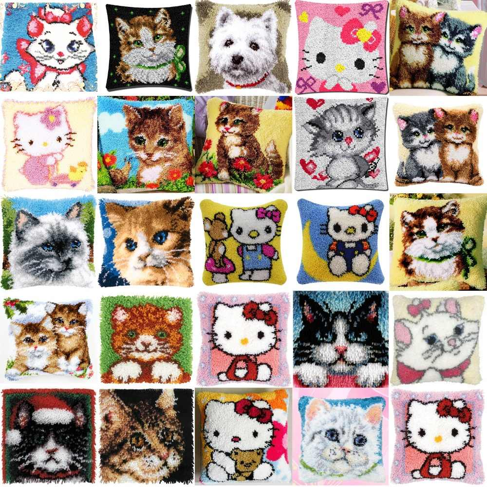DIY Needlework Kit  Acrylic Yarn Embroidery Pillow latch hook Canvas Cushion Front Cross Stitch Pillowcase cats 23 style
