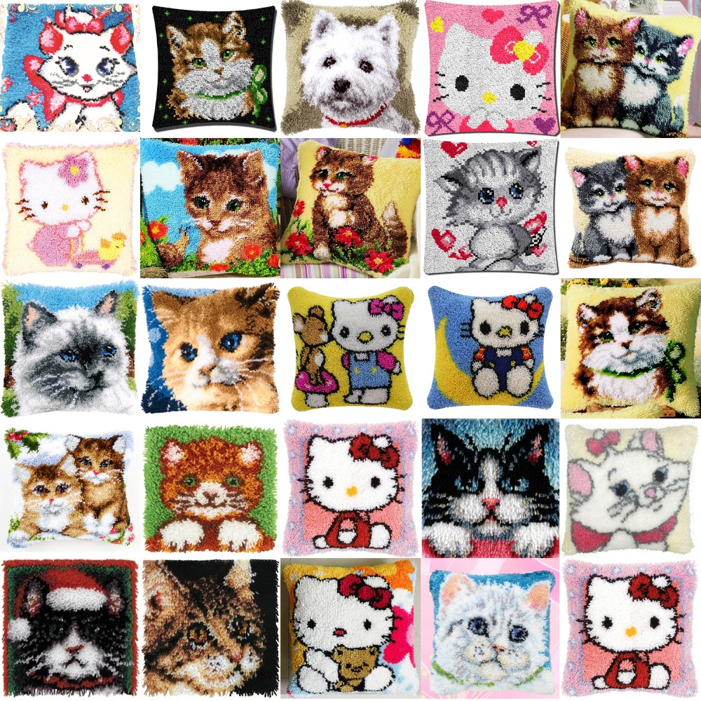 DIY Needlework Kit  Acrylic Yarn Embroidery Pillow latch hook Canvas Cushion Front Cross Stitch Pillowcase cats 23 styleDIY Needlework Kit  Acrylic Yarn Embroidery Pillow latch hook Canvas Cushion Front Cross Stitch Pillowcase cats 23 style