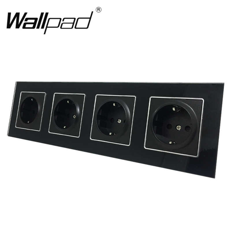 Quadruple EU Socket Round Box Mount CE Wallpad Luxury Black Crystal Glass 4 Frame 16A EU Standard Electrical Outlet with Claws