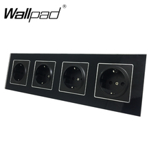 Quadruple EU Socket Round Box Mount CE Wallpad Luxury Black Crystal Glass 4 Frame 16A Standard Electrical Outlet with Claws
