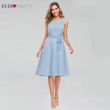 シンプルなブルー帰郷ドレスこれまでにかわいい A ライン O ネック弓サッシエレガントな夏の卒業ドレス Vestido デ Formatura 2020