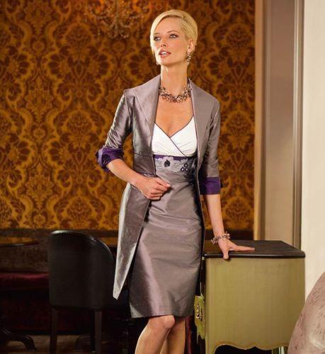 на замовлення шикарний новий плаття вестида де феста madrinha 2014 короткий Матері нареченої сукні з курткою безкоштовно  t