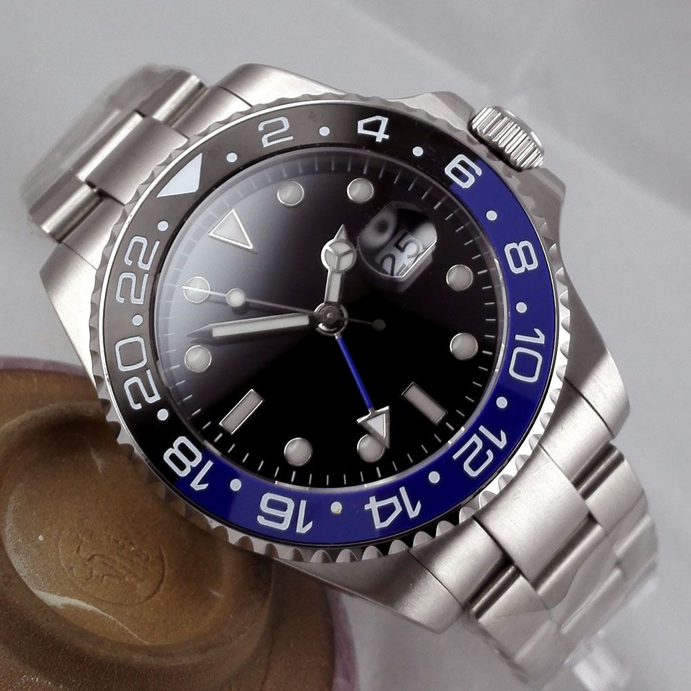 Luxury Brand Bliger Mechanical Watches 43mm sterile Black olive dial GMT Ceramic Bezel sapphire automatic mens watch in Mechanical Watches from Watches