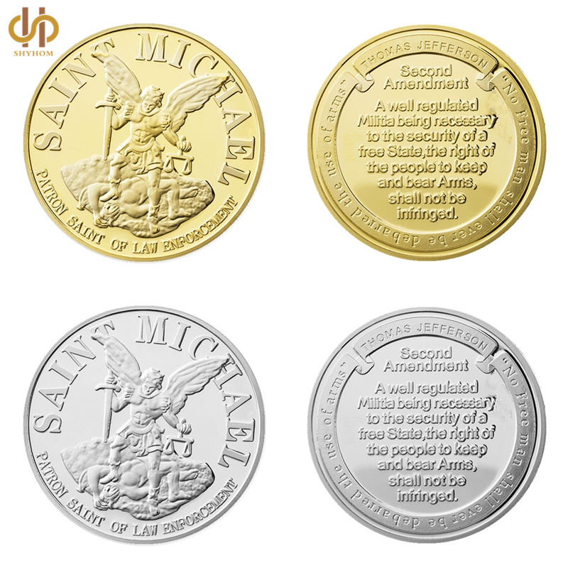 USA Saint Michael The Archangel with Prayer Challenge Gold/Silver Coin Collection With Coin Capsule