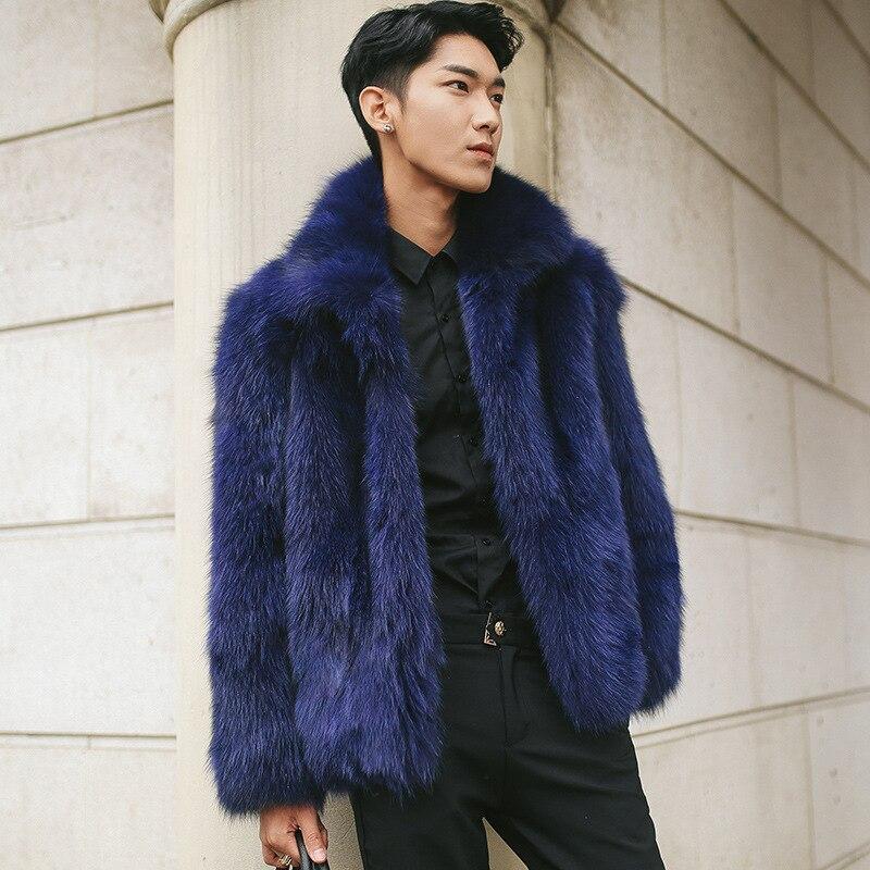 2018 New Mens jacket Coat Fur one Mens Fur Short Paragraph Imitation Fox Fur Imitation Fur Dark Blue coat Size S M L-4XL 5XL