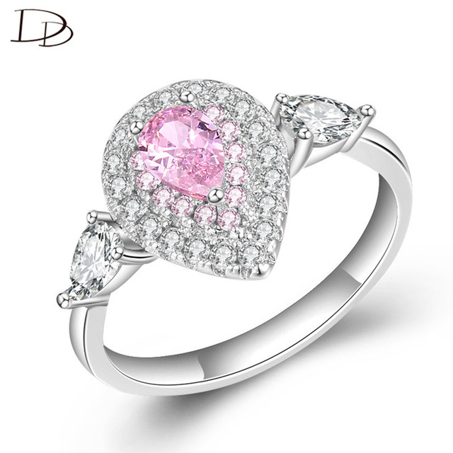Dodo Princess Ring Gorgeous Pink Yellow Clean Water Drop Shape