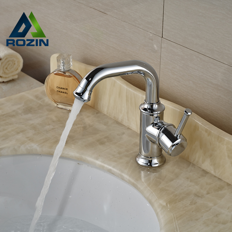 ФОТО Polished Chrome Single Hole Brass Basin Mixer Faucet Bathroom One Handle Hot Cold Basin Sink Taps