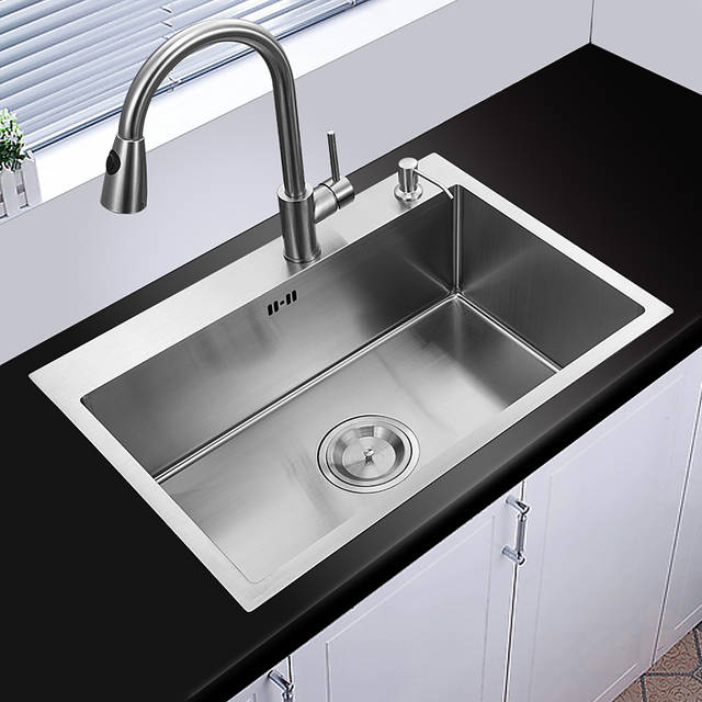 US $298.35 25% OFF 60*45cm topmount stainless steel kitchen sink handmade  single bowl big size water tank kitchen faucet brain basket and rack-in ...