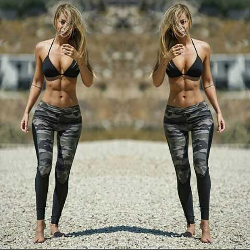 Sexy Print Legins For Women Polyester Ankle-Length Camouflage Pant Patchwork High Waist Jegging Push UP Slim Army Green Leggings
