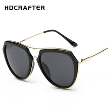 HDCRAFTER Fashion Metal Sunglasses Original Brand Sun Glasses Women Big Frame Shades New Summer Style Gafas de sol mujer