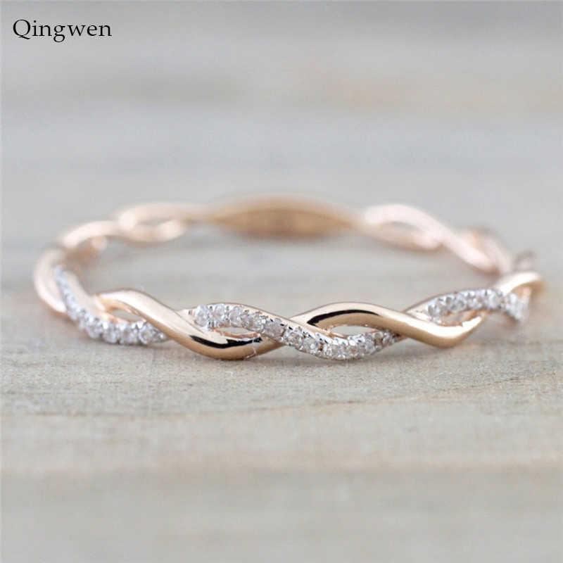 QingWen 2019 คู่แฟชั่นคู่แหวน Rose Gold Twist คลาสสิก Cubic Zirconia แหวนแต่งงานผู้หญิงแหวนของขวัญ CA3050/ w