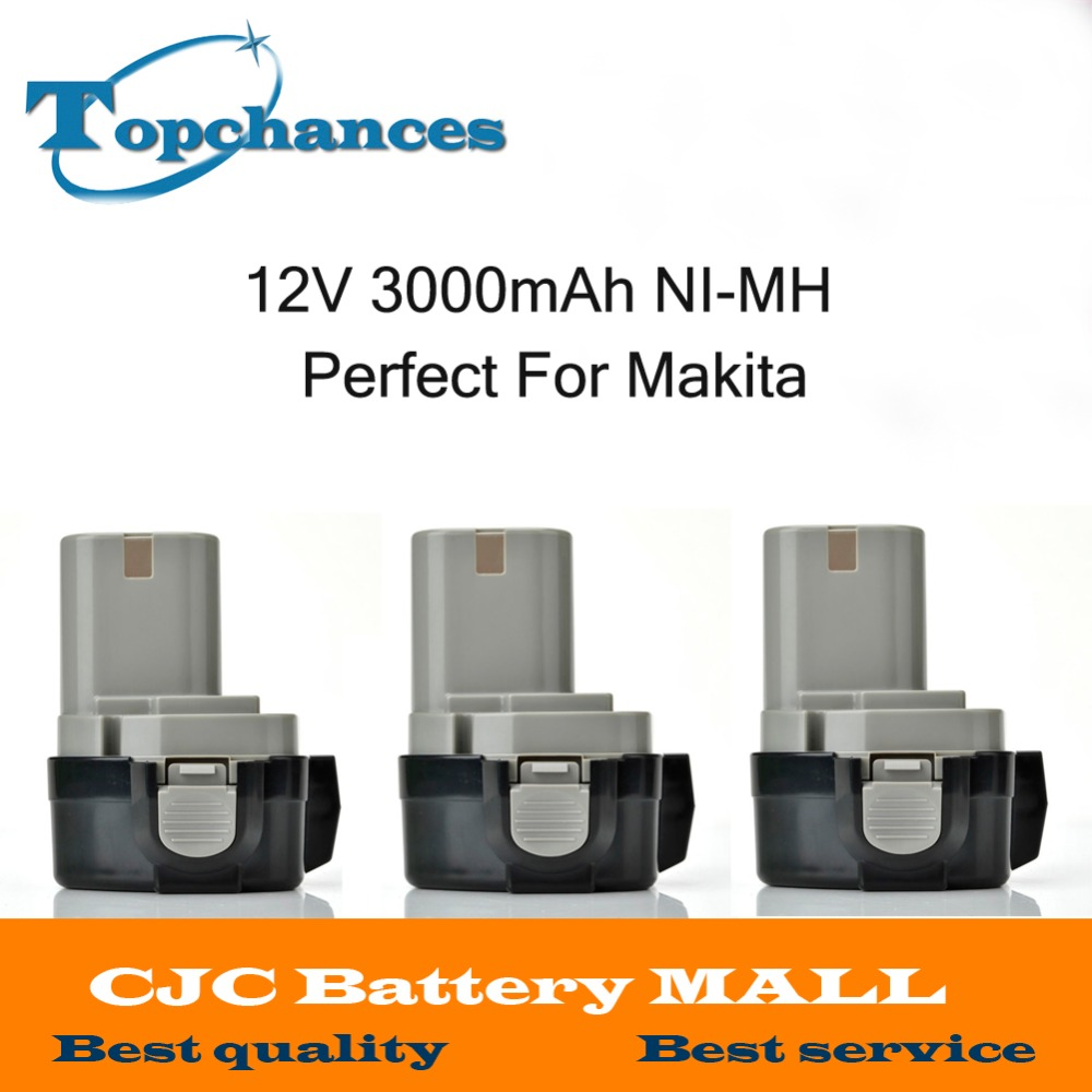 8365ae12ae245 3 sztuk 12 V 3.0AH Ni-MH 3000 mah Rozszerzona Bateria do MAKITA 1234 1233  1235F 192698-8 193157-5 Battries Wiertarko Elektronarzędzia