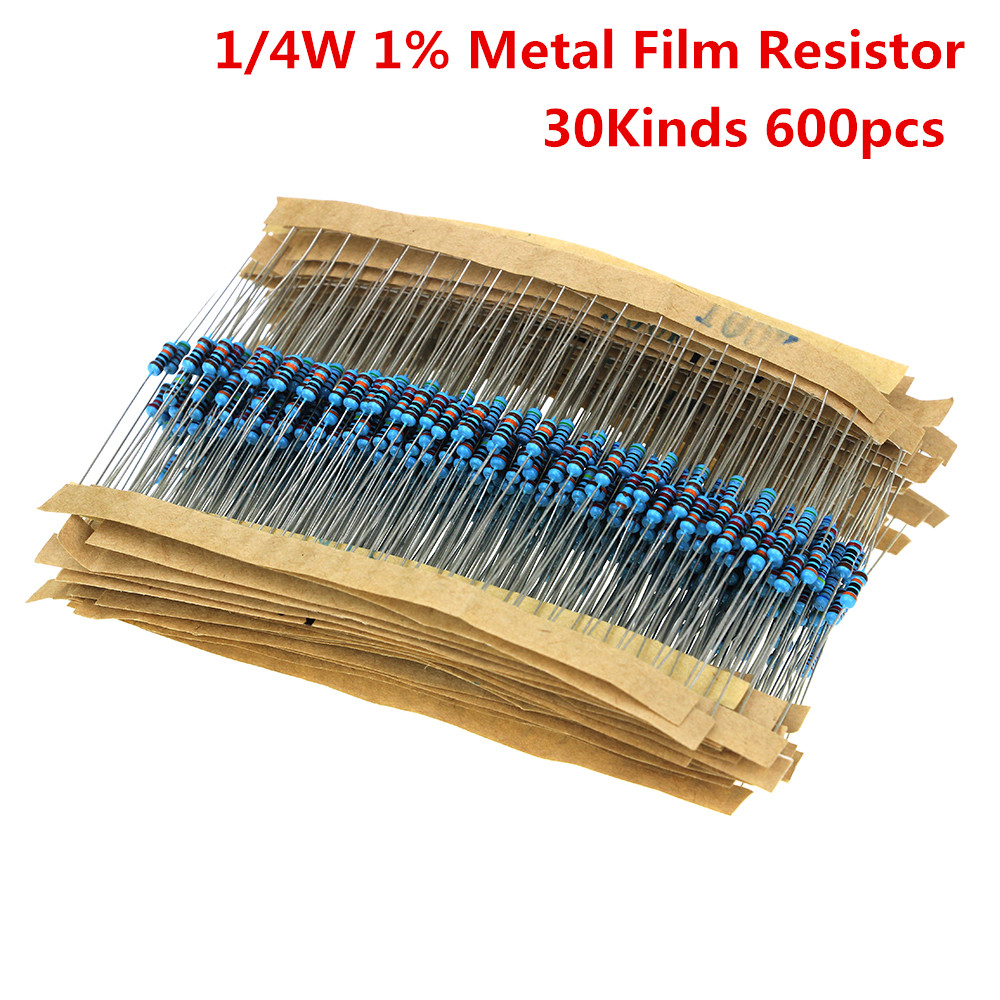 600 pz/set 30 Tipi 1/4 w Resistenza 1% Metallo Film Resistor Pacchetto Assortiti Kit 1 k 10 k 100 k 220ohm 1 m Resistenze 300 pz/set