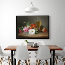 Still Life Oil Canvas Painting HD Printed Landscape Flowers Bonsai Wine Fruits Poster Christmas Decorations for Home Multicolor
