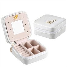 Jewelry Casket Cosmetic Storage Box Makeup Packing Organizer Multi-function Earrings Ring Container Case Portable Leather travel new arrive hot 2pc set portable jewelry box make up organizer travel makeup cosmetic organizer container suitcase cosmetic case