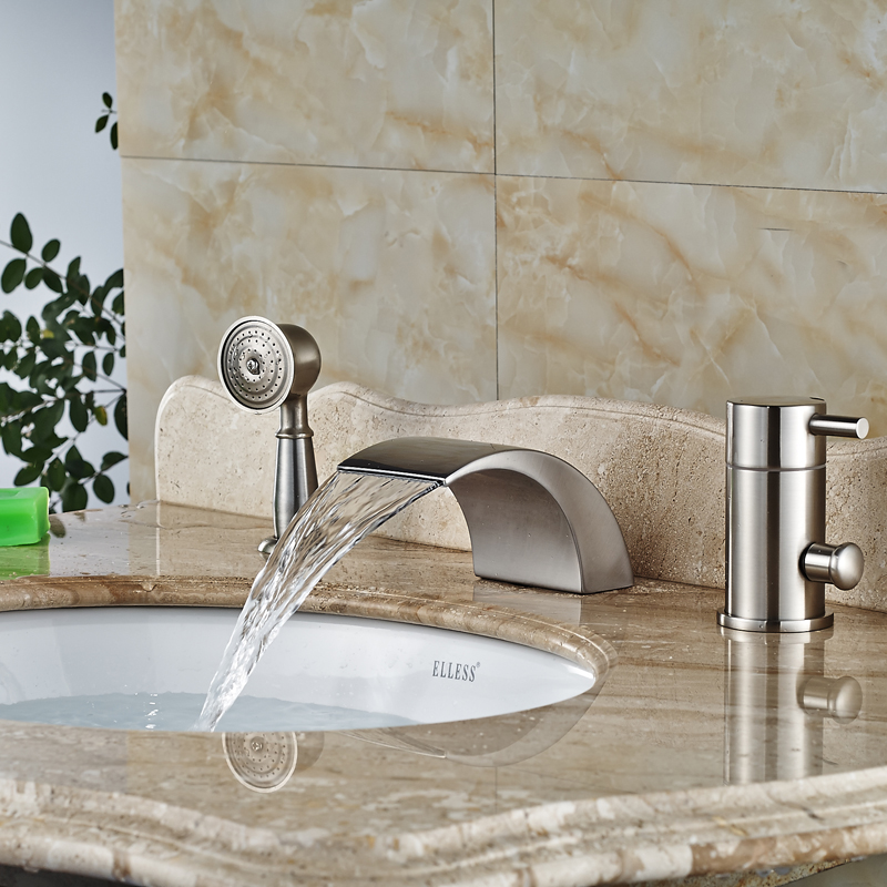 Brushed Nickel Bath Faucet Pull Out Hand Shower Deck Mount 3pcs Waterfall Tub Mixer Taps антенна наружная gal an 815