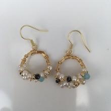 Hot Sale Gold Handmade Winding Natural Pearl Colorful Hanging Korean Earrings for Women Girl Party Gift Female Ear Hook FL8524