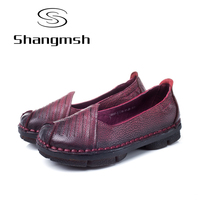 Shangmsh Fashion Ladies Footwear 2017 Summer Autumn New Arrival Genuine Leather Women Flat Shoes Slip On