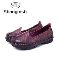 Shangmsh Signore di Modo Calzature 2017 Estate Autunno Nuovo Arrivo Delle Donne del Cuoio Genuino Piatto Scarpe Slip On Mocassini Comodi