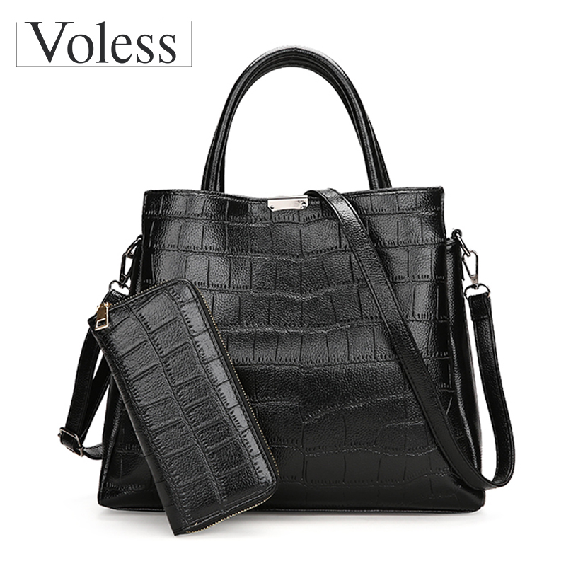 Alligator 2PC Luxury Handbags Women Bags Designer PU Leather Composite Bag Crossbody Bag For Women Totes Ladies Messenger Bags
