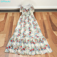 QYFCIOUFU New 2018 High Quality Womens Party Maxi Dresses Sleeveless Fashion Runway Floral Print Off Shoulder