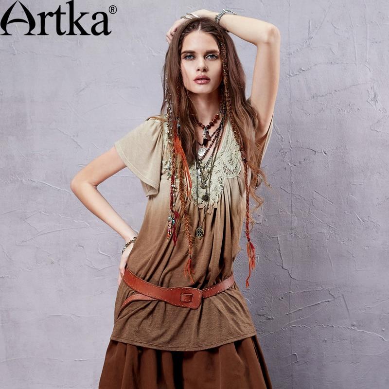 ARTKA femmes été nouveau Dip teints Appliques décoration T-shirt Vintage o-cou papillon manches dégradés couleur t-shirts TA14155X